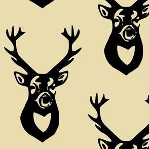 Black Deer on Tan