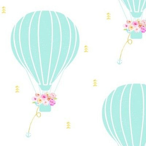 Aqua Hot Air Balloon with Floral and Gold