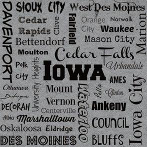 Cities of Iowa, gray