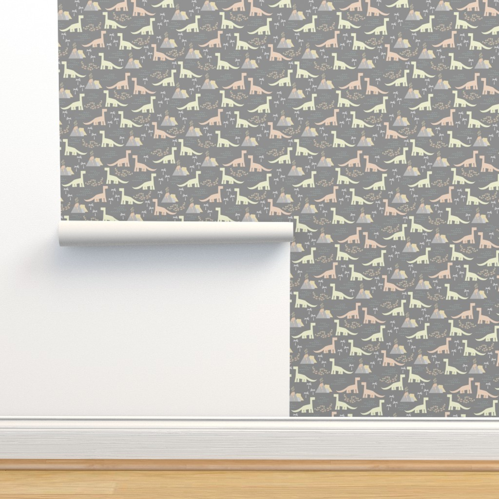Isobar Durable Wallpaper featuring Dinosaurs - Charcoal by papercanoefabricshop