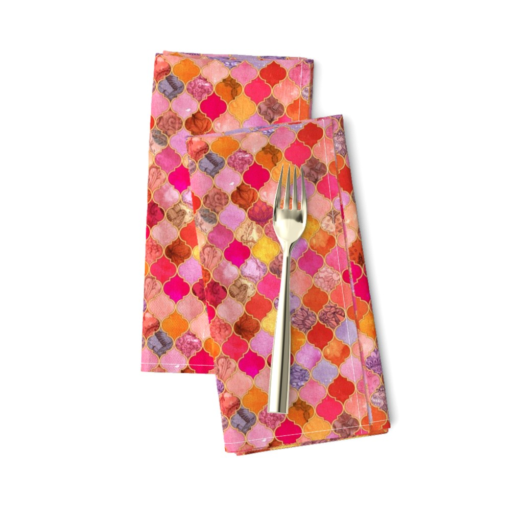 Amarela Dinner Napkins featuring Hot Pink and Orange Decorative Moroccan Tiles Tiny Print by micklyn