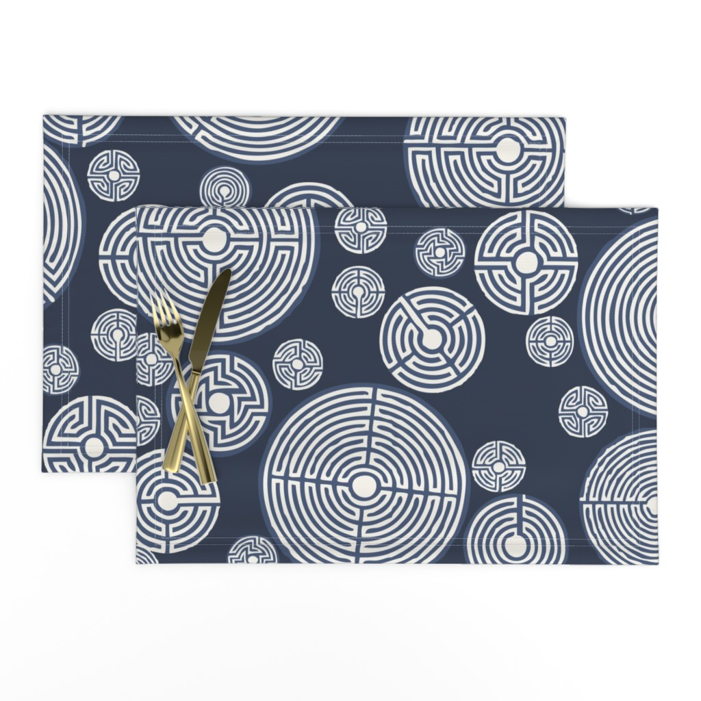 Lamona Cloth Placemats featuring labyrinth_scarf_indigo by lfntextiles