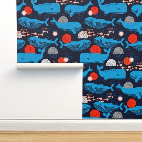 Wallpaper Whales Block Print Fabric Fish Water Whales Sea Block Print