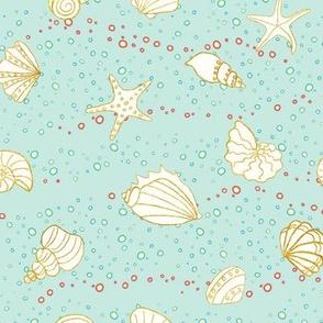 ditsy sea shells - sea green