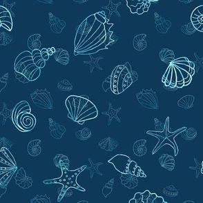 sea shells - navy batik