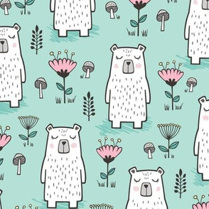 Bear with Flowers Woodland on Mint Green