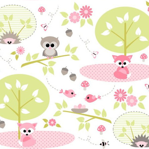 Woodland babies in pink