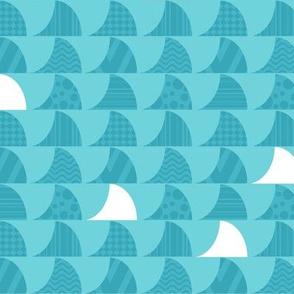 Aqua and White Shark Fins