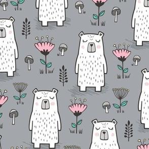 Bear with Flowers Woodland on Grey