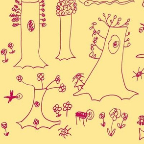 Sycamore Drawing (Red on Yellow)