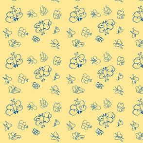 Butterflies (Blue on Yellow)