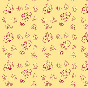 Butterflies (Red on Yellow)