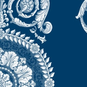 Neoclassical Damask ~ Lonely Angel Blue and White