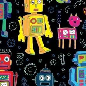 Robots in Space - Black - Large scale