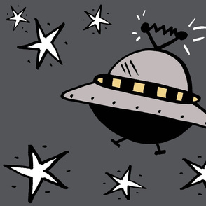 UFO Spaceship Toss Pillow