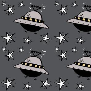 Spaceships Among The Stars on Grey
