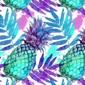 Vivid colors watercolor pineapples