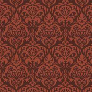 Subtle Gears Damask in Rust