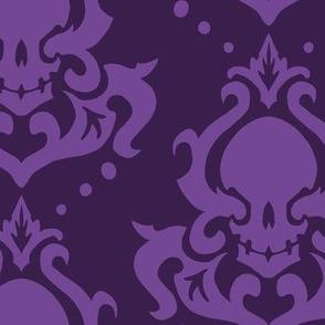 Blocky Skull Damask in Purple