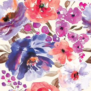 Large Scale - Fall Floral Painted Watercolor Flowers in Blue Purple