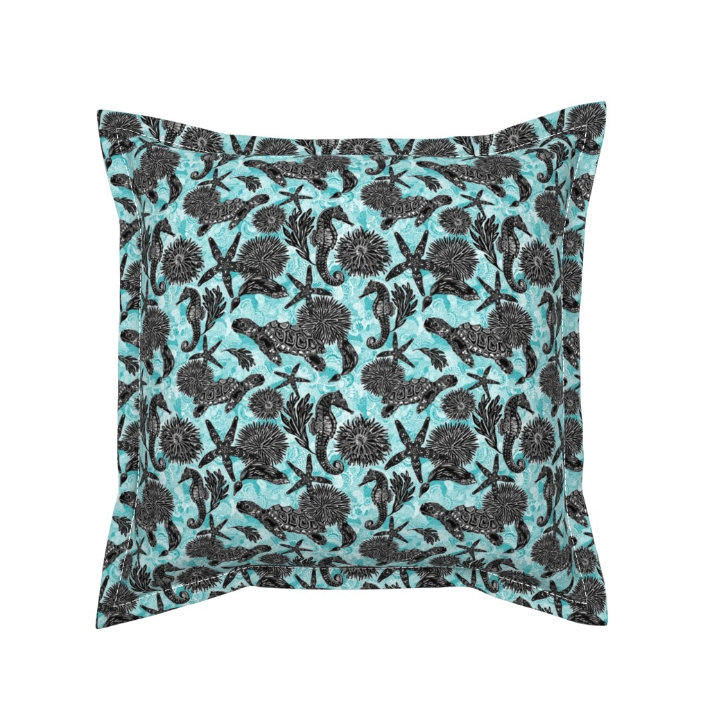 Serama Throw Pillow featuring Sea Beauty (Small Scale) by christinemay