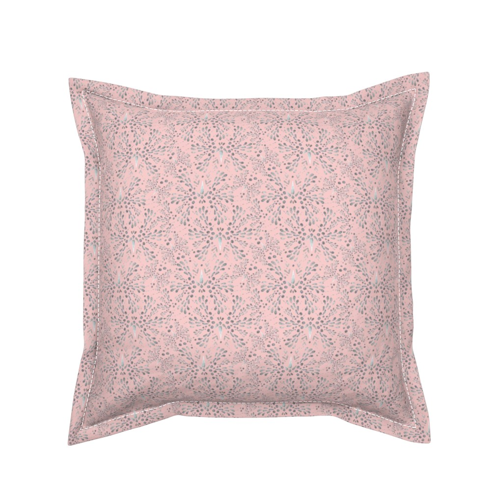 Serama Throw Pillow featuring Silver Twinkle in Rose Quartz by christinemay