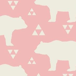 Bears & Triangles - Light Pink & Cream