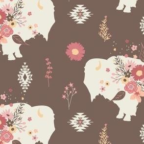 Floral Tribal Buffalo - Brown