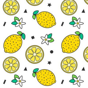 Confetti & Lemons Print White