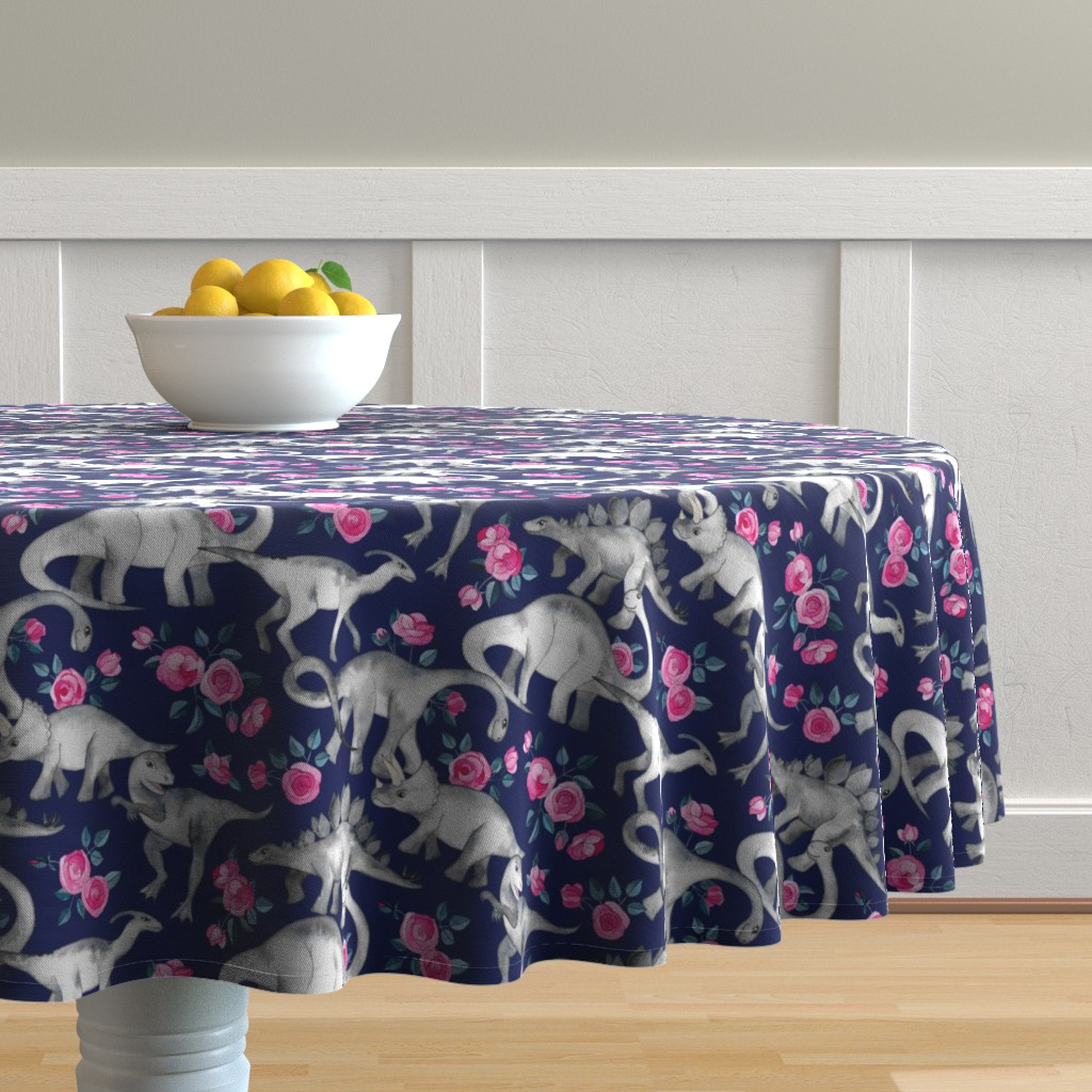 Malay Round Tablecloth featuring Dinosaurs and Roses on Dark Blue Purple by micklyn