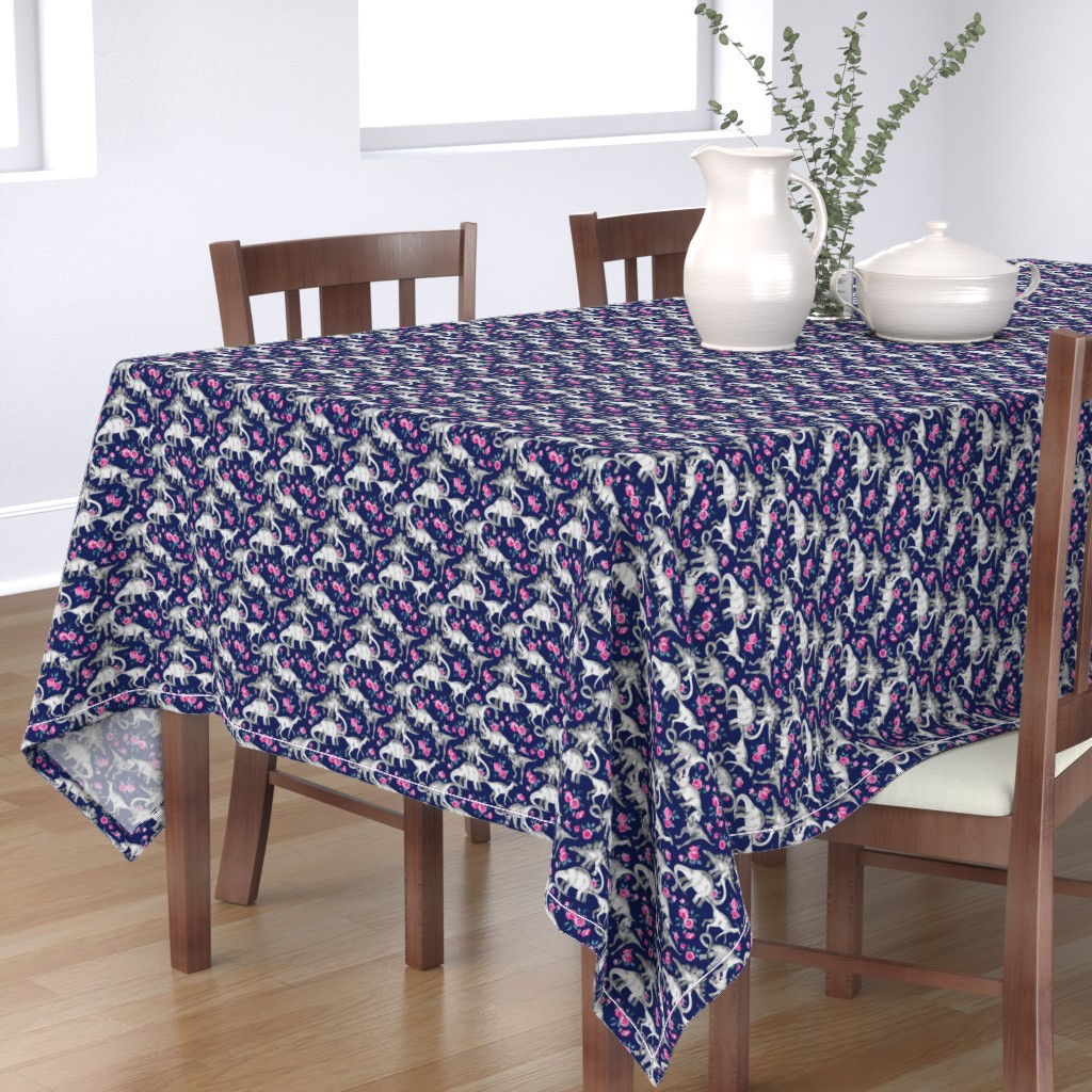 Bantam Rectangular Tablecloth featuring Tiny Dinosaurs and Roses on Dark Blue Purple by micklyn