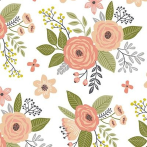 Vintage Antique Floral Flowers in peach on White