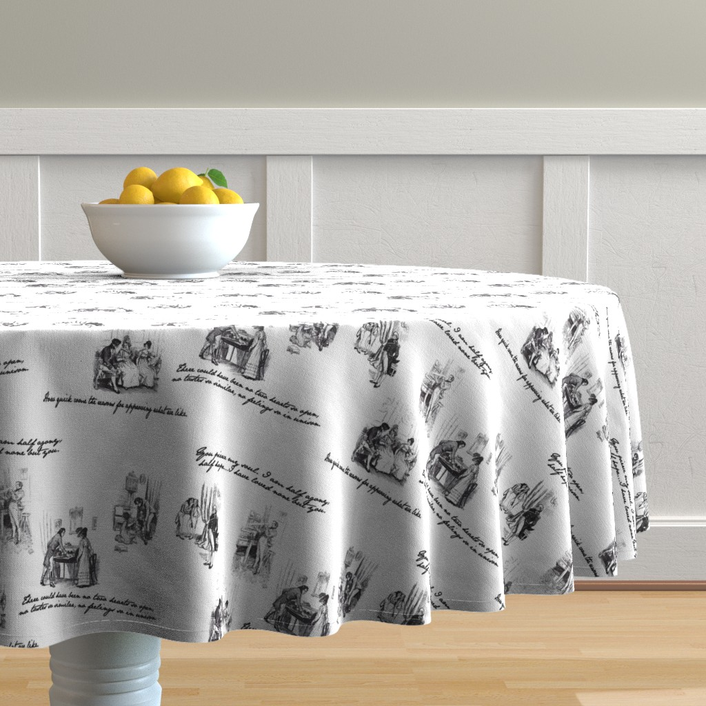 Malay Round Tablecloth featuring Persuasion Toile Black by abucksworth