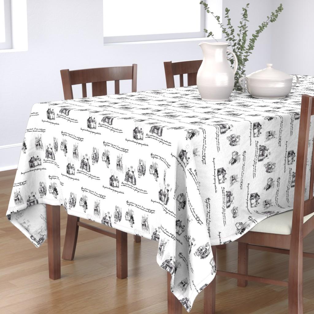 Bantam Rectangular Tablecloth featuring Persuasion Toile Black by abucksworth