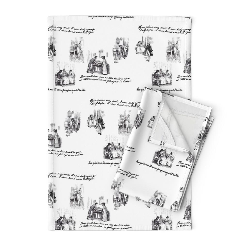 Orpington Tea Towels featuring Persuasion Toile Black by abucksworth
