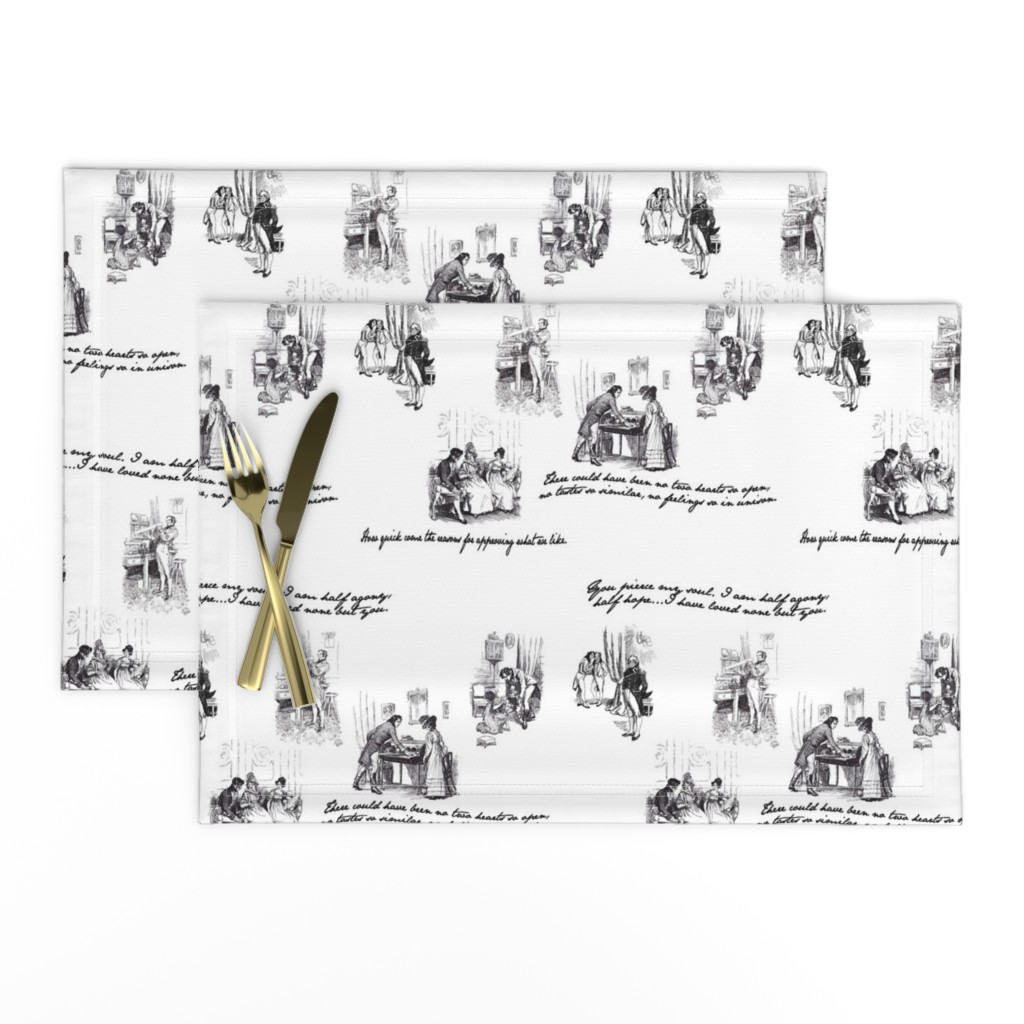 Lamona Cloth Placemats featuring Persuasion Toile Black by abucksworth