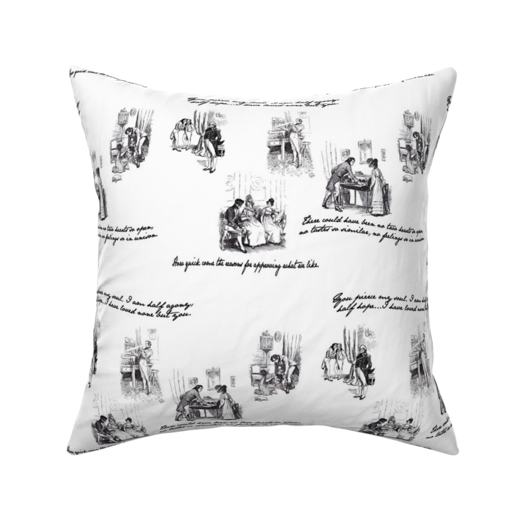 Catalan Throw Pillow featuring Persuasion Toile Black by abucksworth