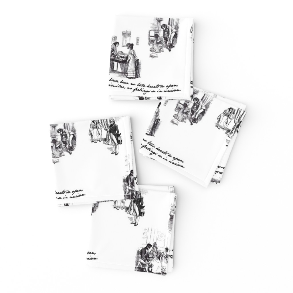 Frizzle Cocktail Napkins featuring Persuasion Toile Black by abucksworth