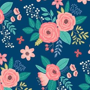 Vintage Antique Floral Flowers on Navy Blue