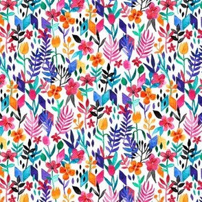 Popping Color Painted Floral on White Small