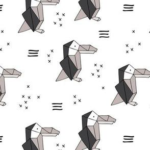 Origami paper art toucan parrot penguin birds geometric cross print gender neutral black and white