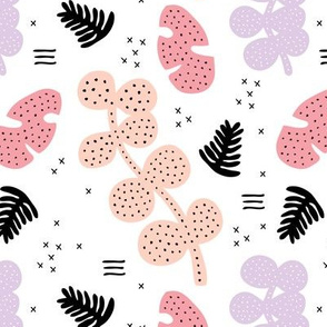 Tropical summer garden petals and leaves memphis geometric pastel style blush pink lilac