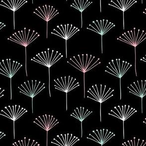 Classic abstract dandelion poppy flower garden summer design black mint pink