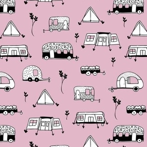 Cool summer camping lilac tent caravan and camper van illustration vacation design