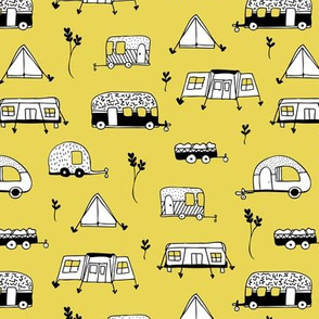 Cool summer camping yellow tent caravan and camper van illustration vacation design
