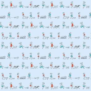 Dog Walkers (Blue Background)