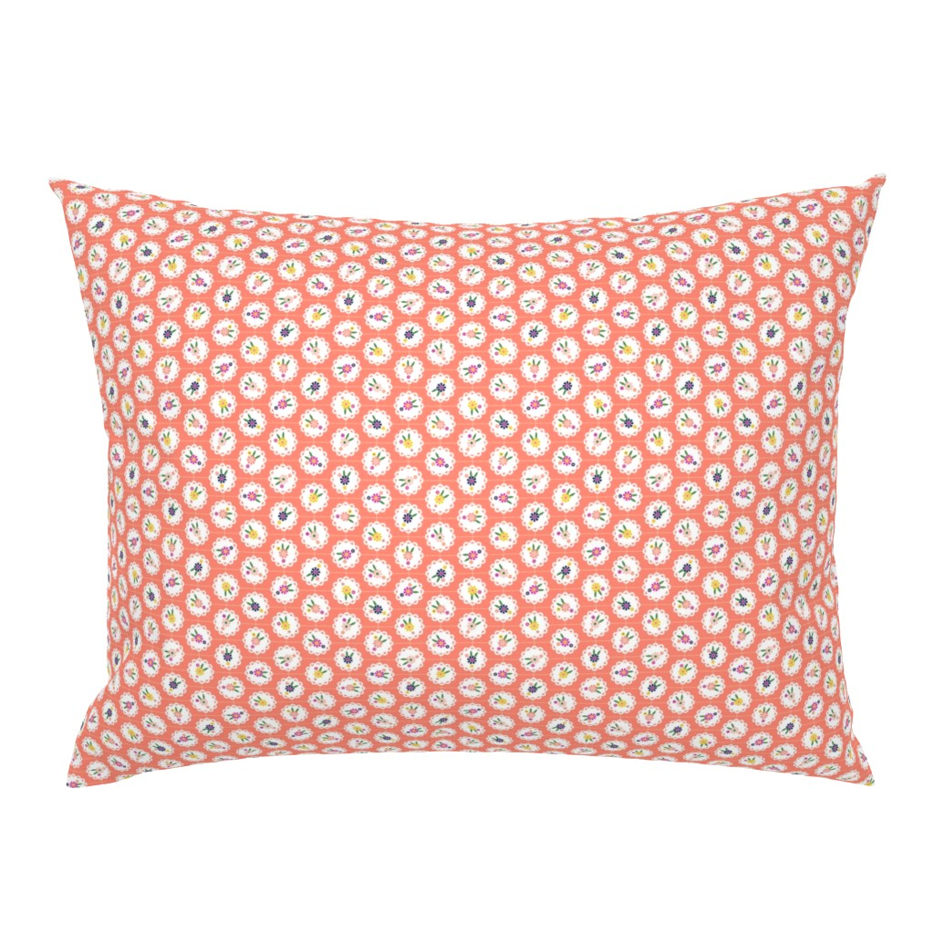 Campine Pillow Sham featuring Wedgewood* (Space Fruit) || flowers flower floral doily doilies vintage shabby chic garden lattice polka dots nature leaves garden living coral by pennycandy