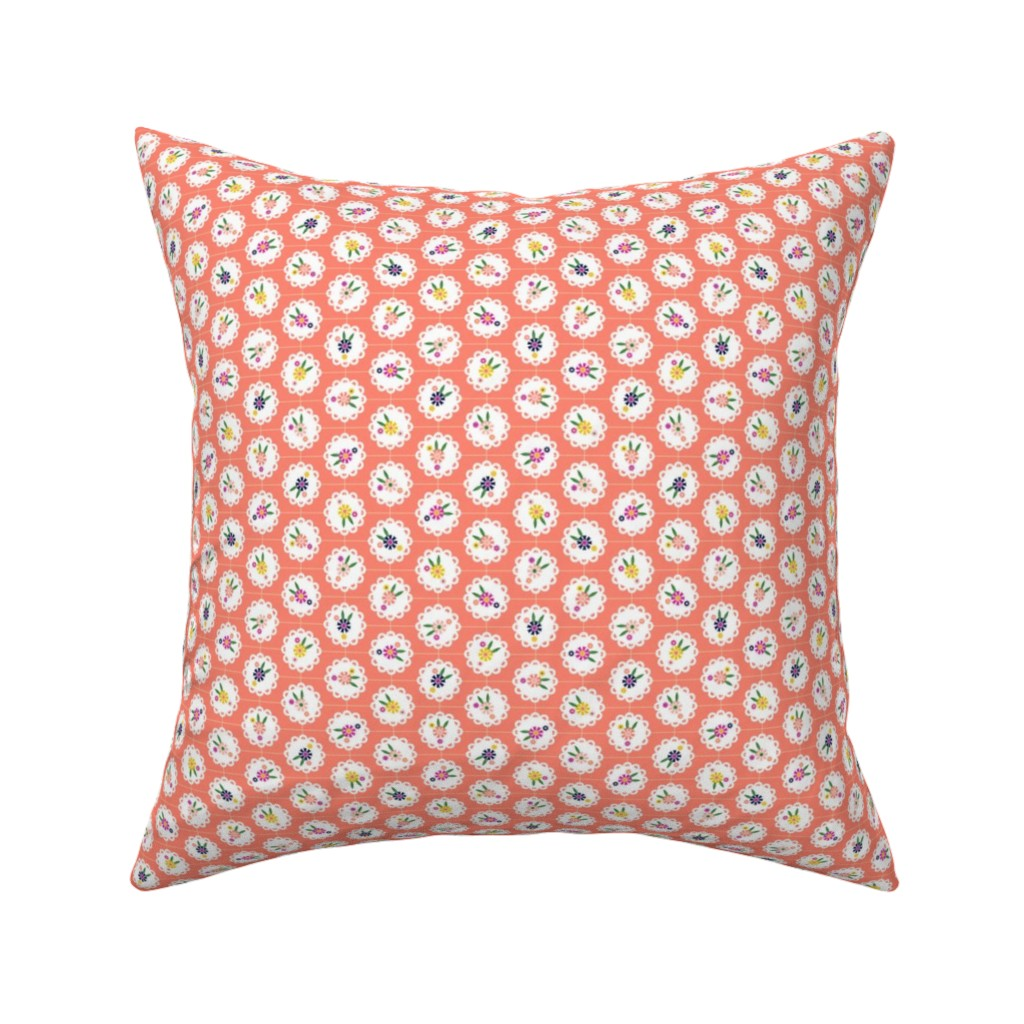 Catalan Throw Pillow featuring Wedgewood* (Space Fruit) || flowers flower floral doily doilies vintage shabby chic garden lattice polka dots nature leaves garden living coral by pennycandy