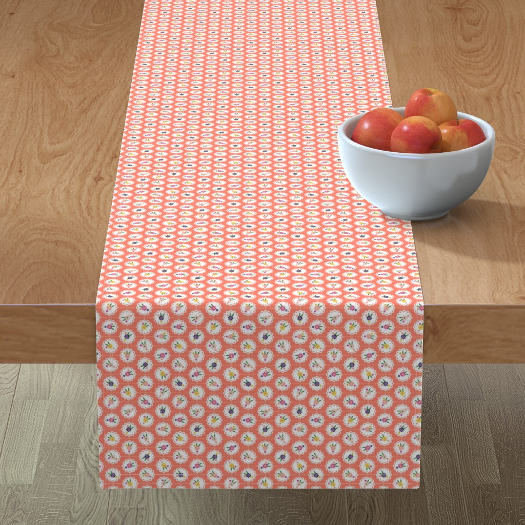 Minorca Table Runner featuring Wedgewood* (Space Fruit) || flowers flower floral doily doilies vintage shabby chic garden lattice polka dots nature leaves garden living coral by pennycandy