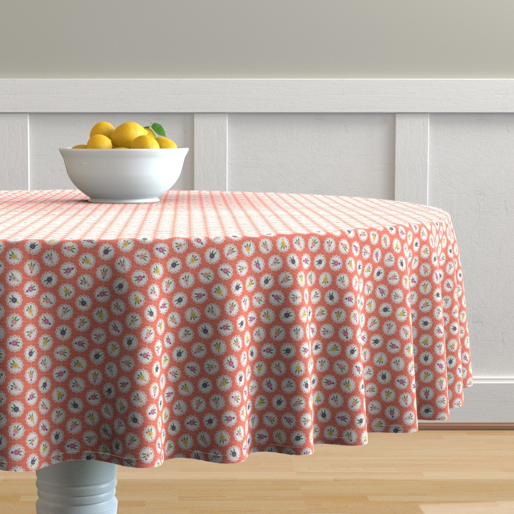 Malay Round Tablecloth featuring Wedgewood* (Space Fruit) || flowers flower floral doily doilies vintage shabby chic garden lattice polka dots nature leaves garden living coral by pennycandy